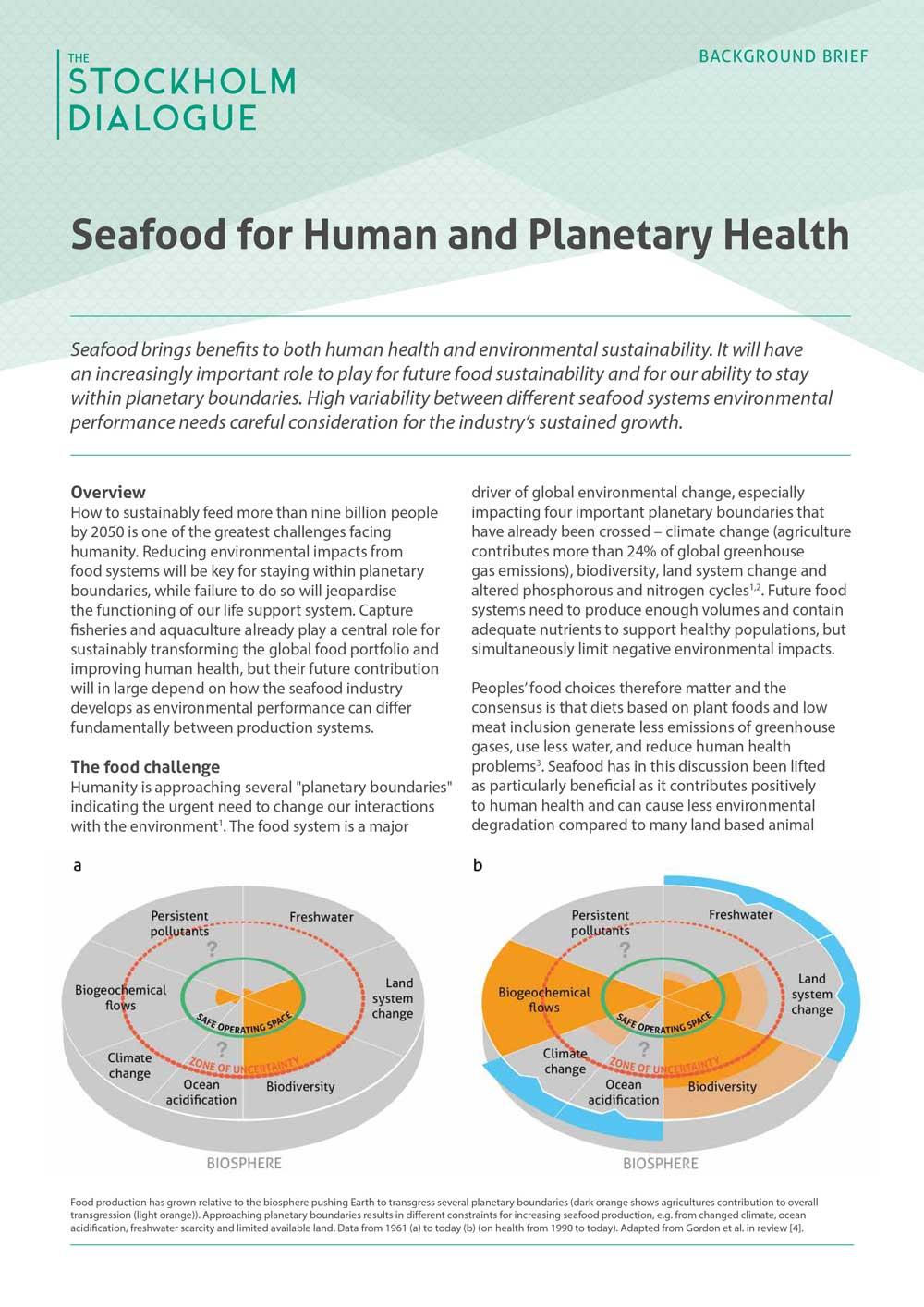 Seafood for Human and Planetary Health