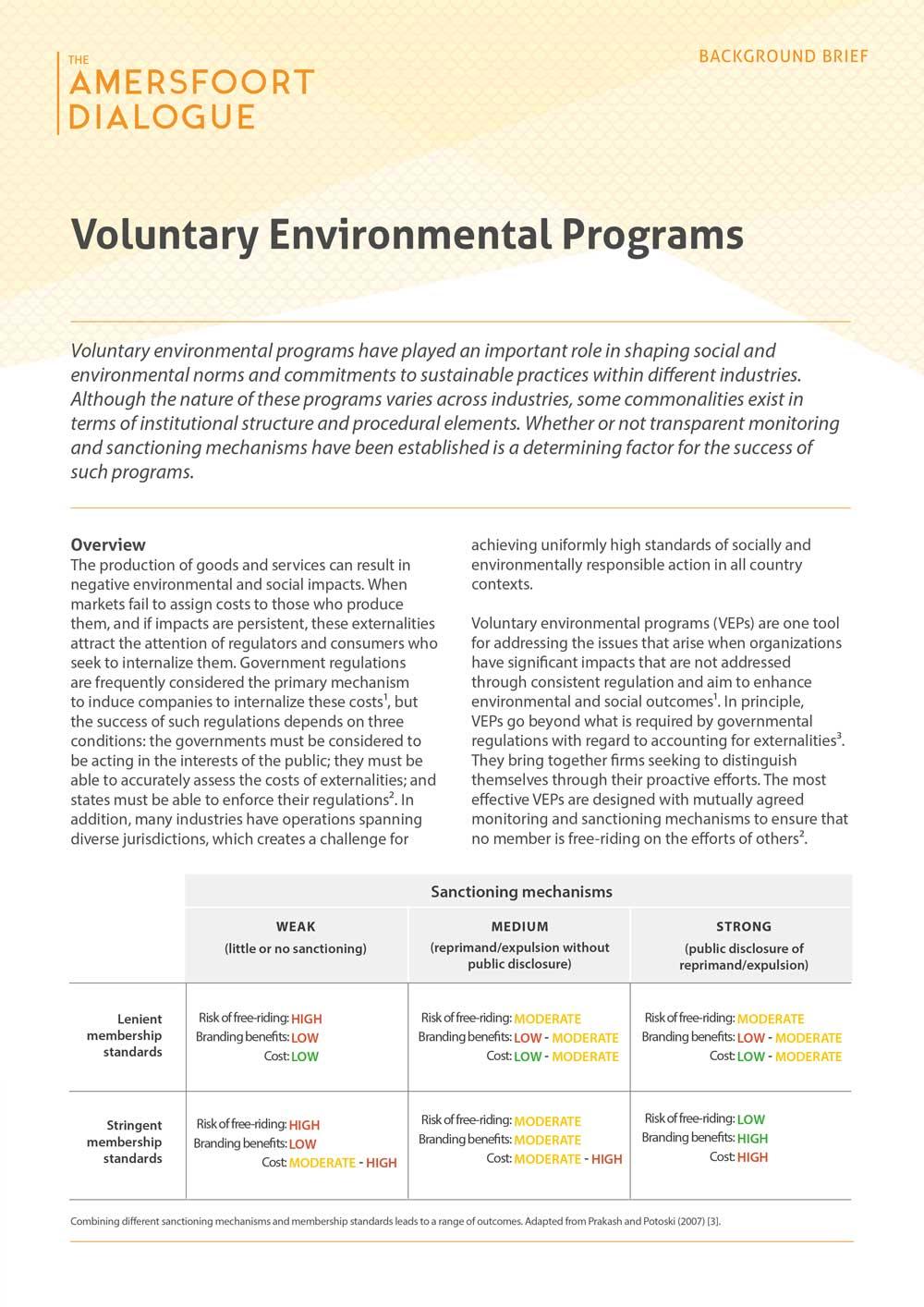 Voluntary Environmental Programs